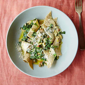 Food & Wine: Buckwheat Pasta Triangles with Lardo and Greens