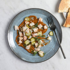 mkgalleryamp; Wine: Chilled Shrimp with Tunisian Hot Sauce and Olive Oil Crackers