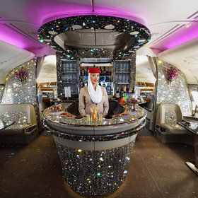 Food & Wine: Emirates Just Released a Photo of Its First Class Bar Blinged Out in 500,000 Crystals