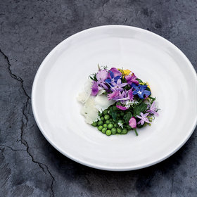 Food & Wine: English Peas with Cider Dressing, Goat Cheese and Flowers