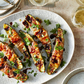 mkgalleryamp; Wine: Prosciutto-Wrapped Baked Zucchini with Balsamic Drizzle