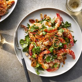 Food & Wine: Cilantro Salad with Shallots and Shrimp