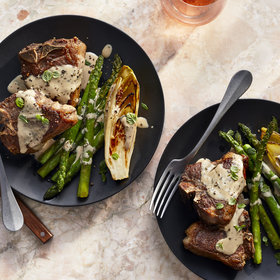 Food & Wine: Seared Lamb Chops with Seared Endive, Asparagus, and Tahini Dressing