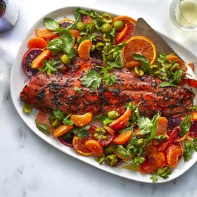 Food & Wine: Pomegranate-Glazed Salmon with Oranges, Olives, and Herbs