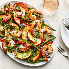 mkgalleryamp; Wine: Grilled Shrimp Salad with Nectarines and Pickled Shallots