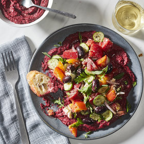 mkgalleryamp; Wine: Horiatiki Salad with Beet Hummus