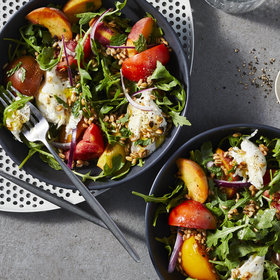 Food & Wine: Peach, Tomato, and Fried Farro Salad with Burrata