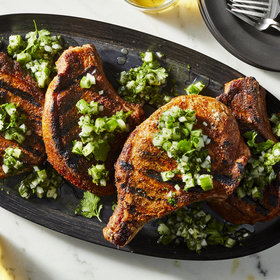 Food & Wine: Spiced Pork Chops with Cucumber Pico de Gallo