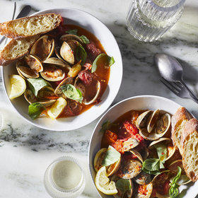 Food & Wine: Steamed Clams with Tomatoes and Basil