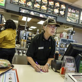 mkgalleryamp; Wine: Fast Food Chains Hire More Senior Citizens to Flip Burgers, Work the Register, and Other Jobs
