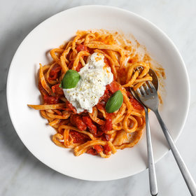 Food & Wine: Handmade Chitarra with Spicy Roasted Cherry Tomatoes and Stracciatella