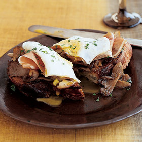 Food & Wine: Wild Mushroom Toasts with Ham and Fried Eggs