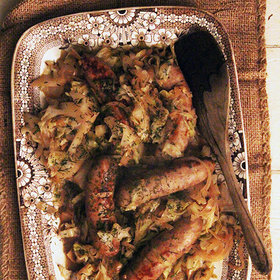 mkgalleryamp; Wine: Beer Braised Cabbage and Sausage