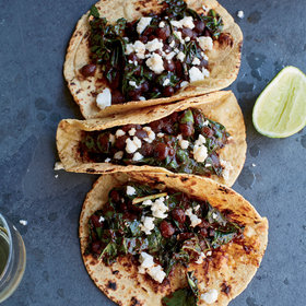 Food & Wine: Kale, Black Bean and Red Chile Tacos with Queso Fresco
