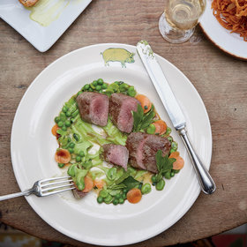 mkgalleryamp; Wine: Lamb Fillets with Favas and Spring Vegetables