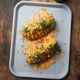Food & Wine: Loaded Hot Dogs with Chipotle Mayo