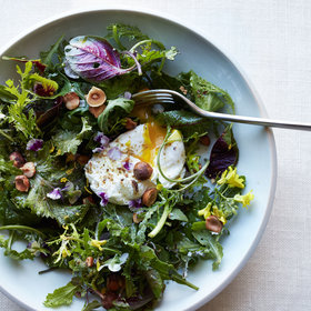 Food & Wine: Mixed Greens with Poached Eggs, Hazelnuts and Spices