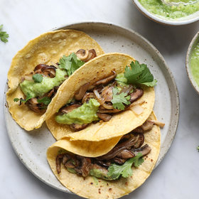 mkgalleryamp; Wine: Mushroom Tacos with Salsa Guacamolada