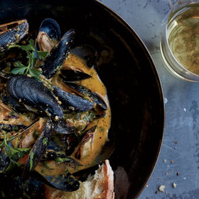 mkgalleryamp; Wine: Mussels with Cava and Roasted Carrot Romesco