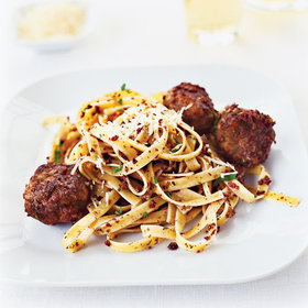 mkgalleryamp; Wine: Olive-Mint Pesto Meatballs with Fettuccine