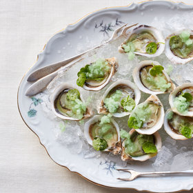 mkgalleryamp; Wine: Oysters with Green Apple and Wasabi Granita
