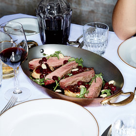 mkgalleryamp; Wine: Pan-Roasted Duck with Cherries and Olives