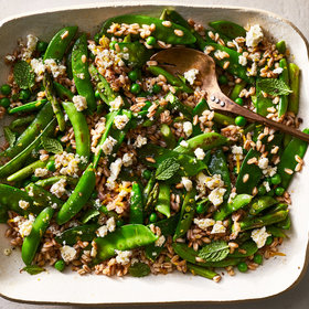 mkgalleryamp; Wine: Triple-Pea and Asparagus Salad with Feta-Mint Dressing