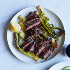 Food & Wine: Pepper-Crusted Skirt Steak with Charred Leeks