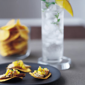 Food & Wine: Plantain Chips with Chicken and Mojito Mango Salsa