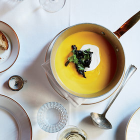 mkgalleryamp; Wine: Pumpkin Soup with Trumpet Mushrooms and Sour Cream