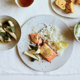 Food & Wine: Quick-Brined Roast Salmon with Lemon-Garlic Oil
