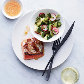 Food & Wine: Roast Salmon with Miso Butter and Radish Salad