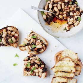 Food & Wine: Olive, Chile and White Bean Crostini