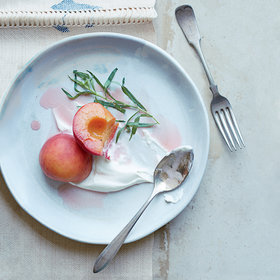 mkgalleryamp; Wine: Riesling-Poached Peaches with Tarragon and Salted Sour Cream