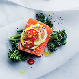 Food & Wine: Salmon, Broccolini and Fresh Red Chile Papillotes