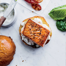 Food & Wine: Salmon Sandwiches with Bacon and Apple-Horseradish Mayo
