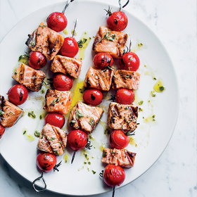 Food & Wine: Salmon and Cherry Tomato Skewers with Rosemary Vinaigrette