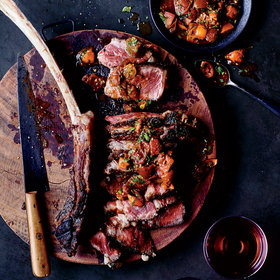 Food & Wine: Tomahawk Steaks with Charred Tomato Charmoula
