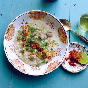 Food & Wine: Rice Congee with Pork Meatballs (Khao Dtom Moo Saap)