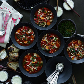 Food & Wine: Farro and White Bean Soup with Swiss Chard and Herb Oil