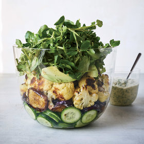 Food & Wine: Roasted Eggplant and Cauliflower Salad with Tahini Green 