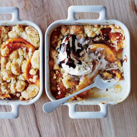 mkgalleryamp; Wine: Roasted Peach Cobbler with Vanilla Ice Cream and Balsamic Syrup