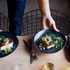 Food & Wine: Sea Bass Piccata With Fried Capers and Leeks