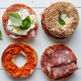 Food & Wine: Sesame Bagels with Soppressata and Burrata