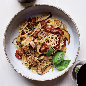 Food & Wine: Spaghettini with Warm Bacon-Mushroom Vinaigrette