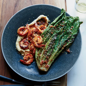Food & Wine: Spicy Shrimp with Pan-Seared Romaine and Chickpea Puree