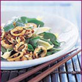 Food & Wine: Wok-Charred Squid Salad with Baby Spinach and Cashews
