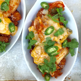 Food & Wine: How to Make Tater Tot Nachos (Totchos) with Kimchi Cheese Sauce