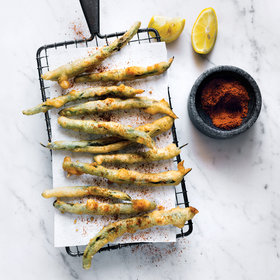 mkgalleryamp; Wine: Tempura Green Beans with Old Bay and Lemon