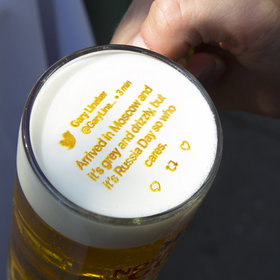 mkgalleryamp; Wine: This Machine Will Print Live Tweets on Beer Foam So Drinkers Can Pay Attention to the World Cup